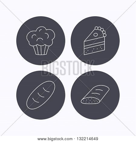 Sweet muffin, cake and bread icons. Piece of cake linear sign. Flat icons in circle buttons on white background. Vector