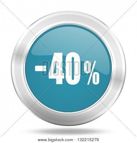 40 percent sale retail icon, blue round metallic glossy button, web and mobile app design illustration