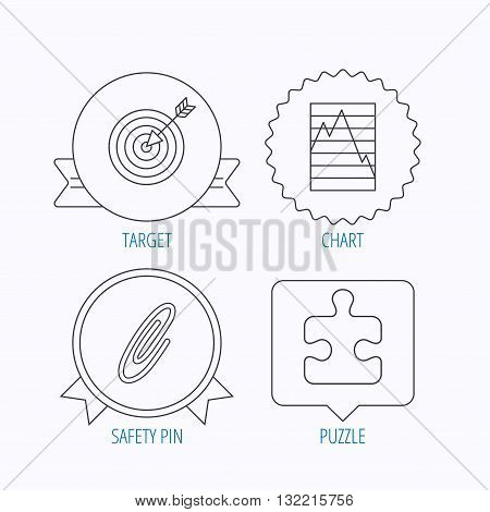 Puzzle, graph charts and target icons. Safety pin linear sign. Award medal, star label and speech bubble designs. Vector