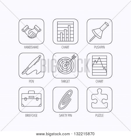 Handshake, graph charts and target icons. Puzzle, pushpin and safety pin linear signs. Briefcase and pen flat line icons. Flat linear icons in squares on white background. Vector