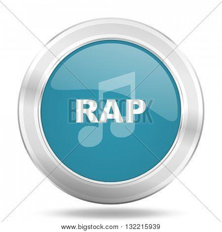rap music icon, blue round metallic glossy button, web and mobile app design illustration
