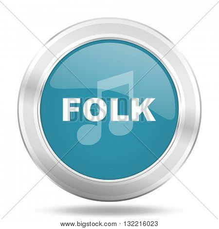 folk music icon, blue round metallic glossy button, web and mobile app design illustration