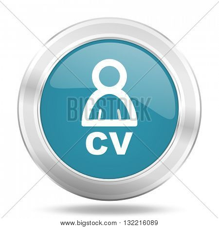 cv icon, blue round metallic glossy button, web and mobile app design illustration