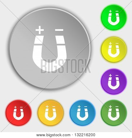 Horseshoe Magnet, Magnetism, Magnetize, Attraction Icon Sign. Symbol On Eight Flat Buttons. Vector