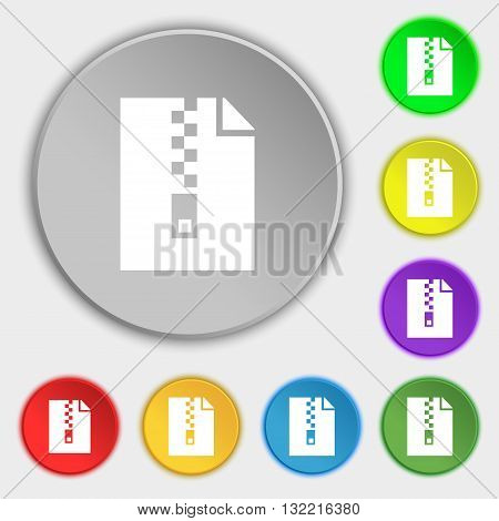 Computer Zip Folder, Archive Icon Sign. Symbol On Eight Flat Buttons. Vector