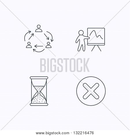 Teamwork, presentation and hourglass icons. Delete or remove linear sign. Flat linear icons on white background. Vector