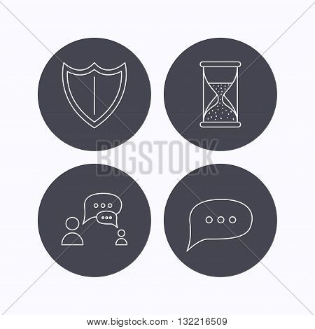 Dialog, chat speech bubbles and shield icons. Protection, hourglass linear signs. Flat icons in circle buttons on white background. Vector