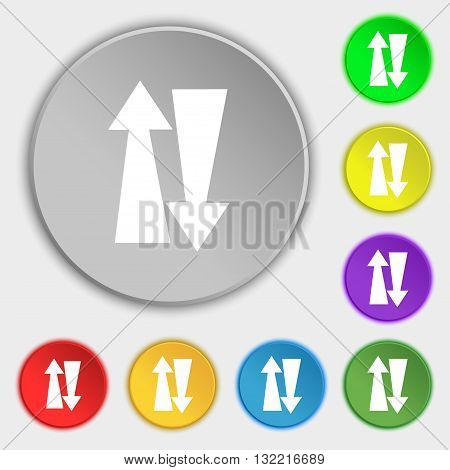 Two Way Traffic, Icon Sign. Symbol On Eight Flat Buttons. Vector