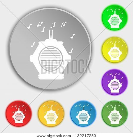 old analog radio icon sign. Symbol on eight flat buttons. Vector illustration