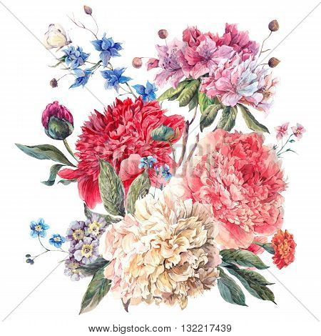 Gentle Decoration Vintage Floral Greeting Card with Blooming Peonies and Wild Flowers Watercolor Botanical Natural Peonies Illustration isolated on white.