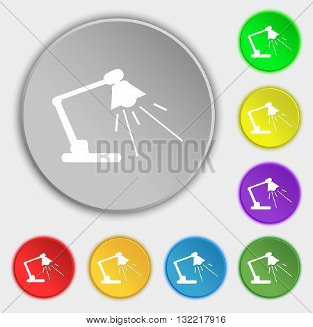 Reading-lamp icon sign. Symbol on eight flat buttons. Vector illustration