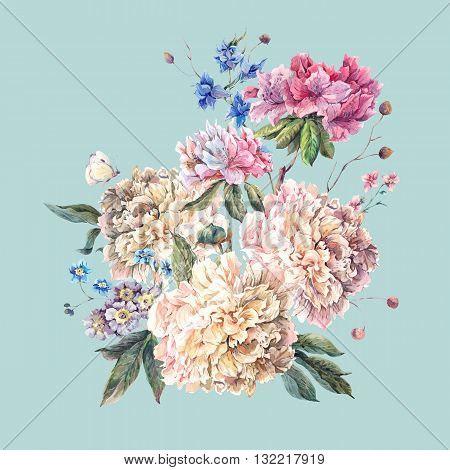 Gentle Decoration Vintage Floral Greeting Card with Blooming White Peonies and Wild Flowers Watercolor Botanical Natural Peonies Illustration isolated on blue.
