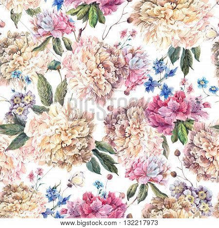 Gentle Decoration Vintage Floral Watercolor Seamless Pattern with Blooming White Peonies and Wild Flowers Watercolor Botanical Natural Peonies Illustration on white.