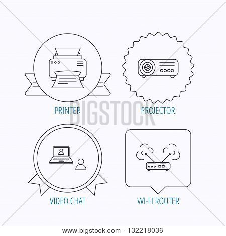 Projector, printer and wi-fi router icons. Video chat linear sign. Award medal, star label and speech bubble designs. Vector