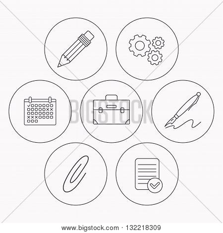 Briefcase, pencil and safety pin icons. Pen linear sign. Check file, calendar and cogwheel icons. Vector