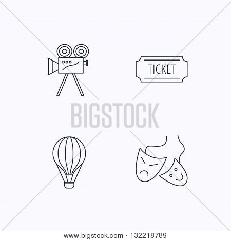 Video camera, ticket and theatre masks icons. Air balloon linear sign. Flat linear icons on white background. Vector