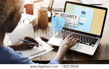 Security System Access Password Data Network Surveillance Concept