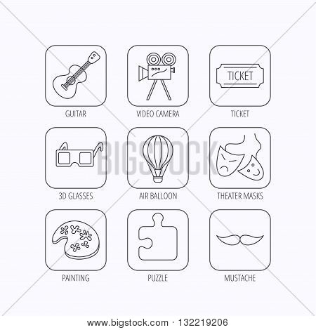 Puzzle, guitar music and theater masks icons. Ticket, video camera and 3d glasses linear signs. Entertainment, painting and mustache icons. Flat linear icons in squares on white background. Vector