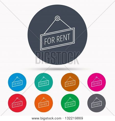 For rent icon. Advertising banner tag sign. Icons in colour circle buttons. Vector
