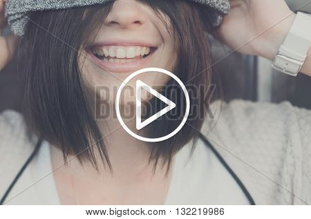Woman Smiling Laughing Happiness Concept