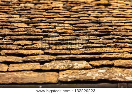 Old grunge concrete stone roof pattern background outdoor