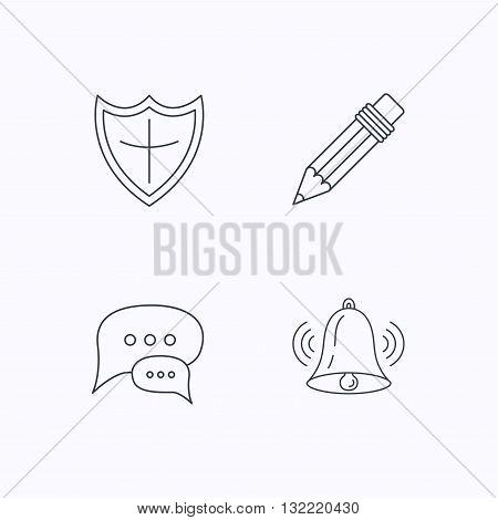 Chat, pencil and protection shield icons. Bell rings linear sign. Flat linear icons on white background. Vector
