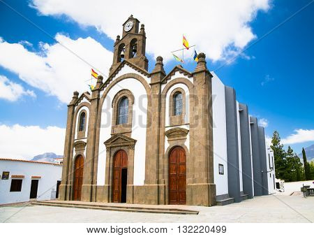 Picture of 19th century church in the village of Santa Lucia de Tirajana on Gran Canaria, Spain.