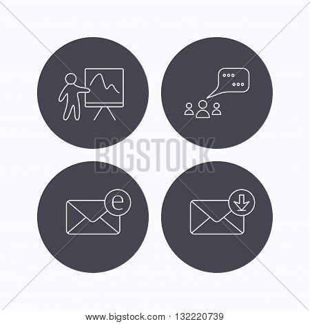Mail, presentation and meeting chat bubbles icons. E-mail linear sign. Flat icons in circle buttons on white background. Vector