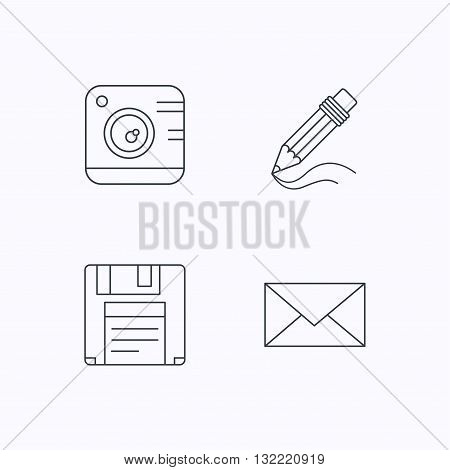 Photo camera, pencil and mail icons. Floppy disk linear sign. Flat linear icons on white background. Vector