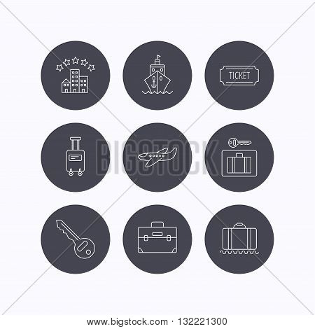 Hotel, cruise ship and airplane icons. Key, baggage and briefcase linear signs. Luggage security and ticket flat line icons. Flat icons in circle buttons on white background. Vector