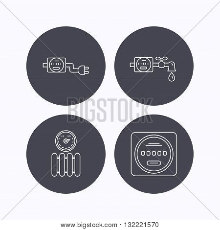 Electricity, radiator and water counter icons. Counter linear sign. Flat icons in circle buttons on white background. Vector