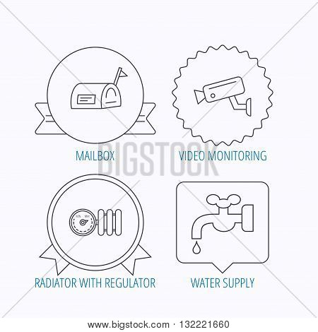 Water supply, video camera and mailbox icons. Radiator with regulator linear sign. Award medal, star label and speech bubble designs. Vector