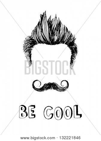 Be cool black and white hand drawn poster