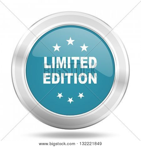 limited edition icon, blue round metallic glossy button, web and mobile app design illustration