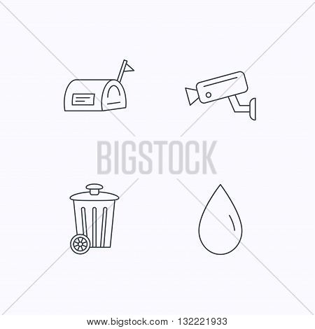 Mailbox, video monitoring and water drop icons. Trash bin linear sign. Flat linear icons on white background. Vector