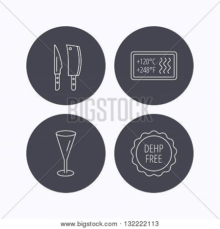 Kitchen knives, glass and heat-resistant icons. DEHP free linear sign. Flat icons in circle buttons on white background. Vector