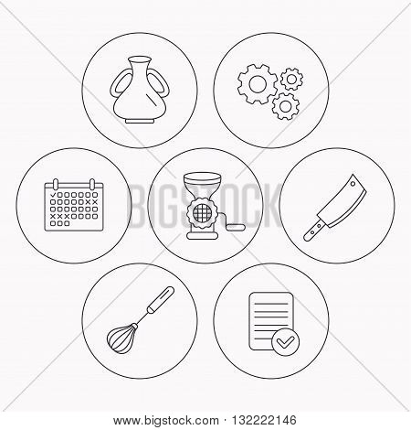 Meat grinder, butcher knife and whisk icons. Vase linear sign. Check file, calendar and cogwheel icons. Vector