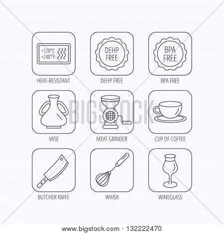 Coffee cup, butcher knife and wineglass icons. Meat grinder, whisk and vase linear signs. Heat-resistant, DEHP and BPA free icons. Flat linear icons in squares on white background. Vector