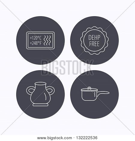 Saucepan, vase and heat-resistant icons. DEHP free linear sign. Flat icons in circle buttons on white background. Vector
