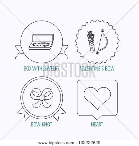 Love heart, jewelry and bow-knot icons. Valentine amour arrows linear sign. Award medal, star label and speech bubble designs. Vector