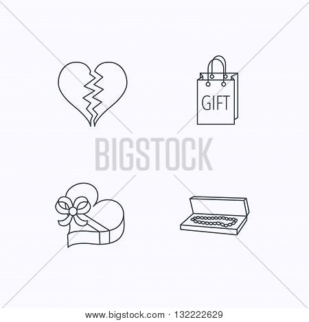 Broken heart, gift box and wedding jewelry icons. Box with jewelry linear sign. Flat linear icons on white background. Vector