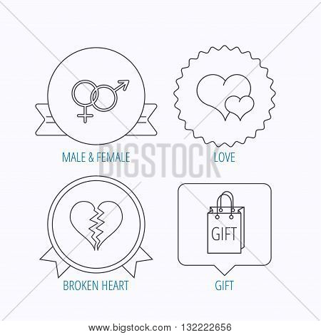 Love heart, gift bag and male with female icons. Broken heart or divorce linear signs. Award medal, star label and speech bubble designs. Vector
