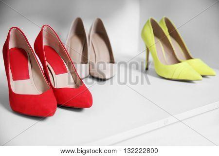 Female high heel shoes in wardrobe