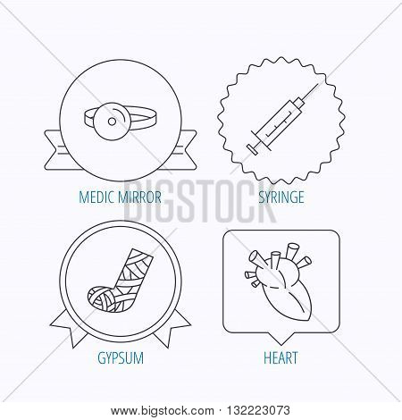 Syringe, heart and gypsum icons. Medical mirror linear sign. Award medal, star label and speech bubble designs. Vector