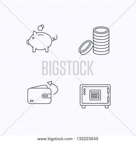 Piggy bank, cash money and wallet icons. Safe box, send money linear signs. Flat linear icons on white background. Vector