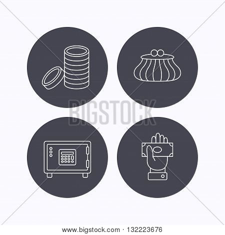 Give money, cash money and wallet icons. Safe box, coins linear signs. Flat icons in circle buttons on white background. Vector