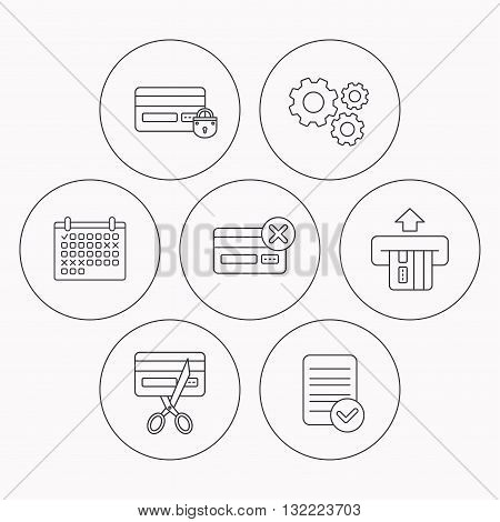 Bank credit card icons. Banking, blocked and expired debit card linear signs. Check file, calendar and cogwheel icons. Vector