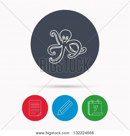 Octopus icon. Ocean devilfish sign. Calendar, pencil or edit and document file signs. Vector