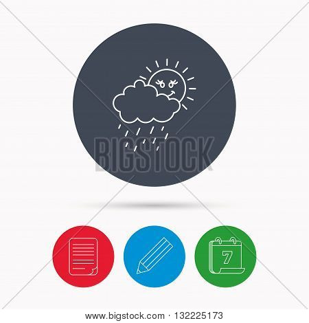 Rain and sun icon. Water drops and cloud sign. Rainy overcast day symbol. Calendar, pencil or edit and document file signs. Vector