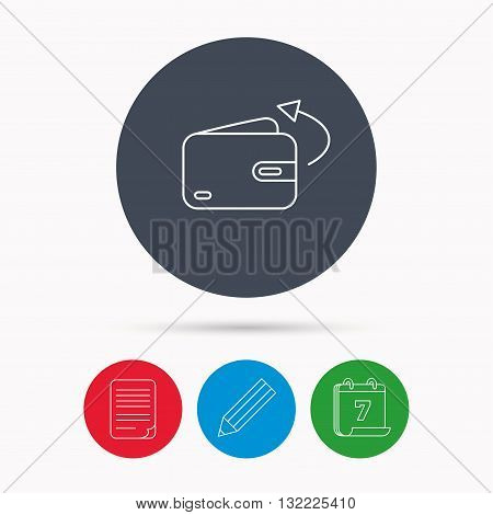 Send money icon. Cash wallet sign. Calendar, pencil or edit and document file signs. Vector
